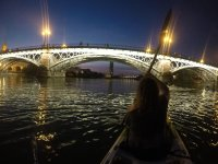 Guided canoe tour at night