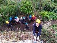 Starting the ascent of the via ferrata