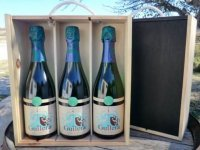 tres botellas de cava en una caja
