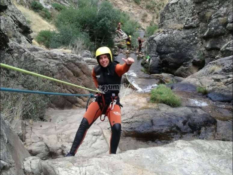 Rappel in the ravine of Somosierra
