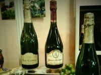 botellas de vino junto a unas uvas