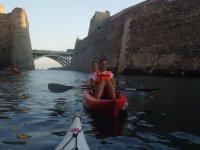 Returning to the kayak from the bridge