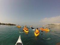 Paseo en kayaks amarillos