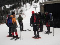 Talk on the route with snowshoes