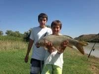Peques despues de la pesca