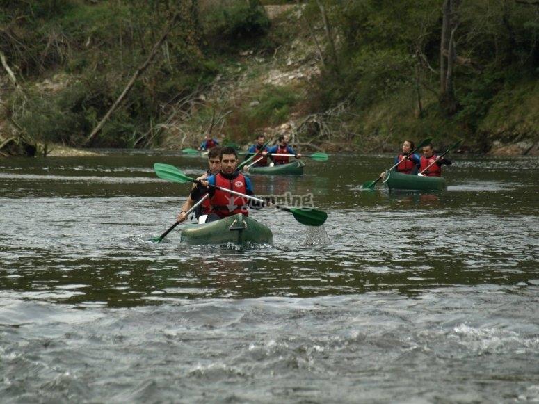Amigos en el kayak
