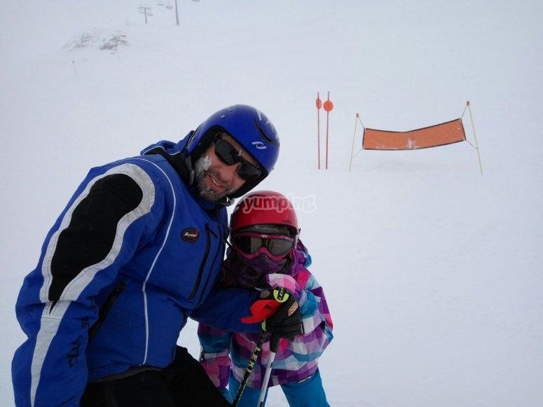 Con el monitor de esqui