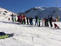 Practicando para esquiar