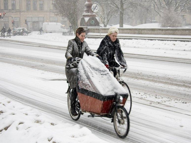 Bici eCargo en invierno