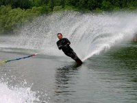 Water skiing at full speed