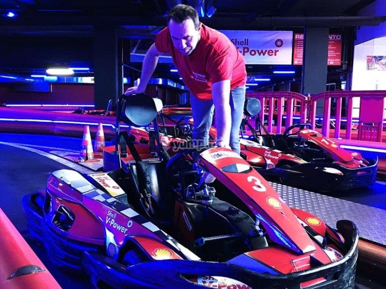 Preparando la carrera de karts