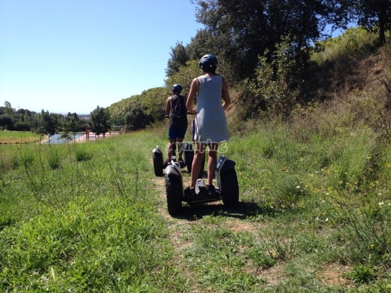 Enjoying the nice climate conditions on a Segway