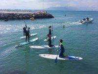 Con las tablas de la escuela de paddle surf