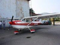 A light aircraft in the hangar