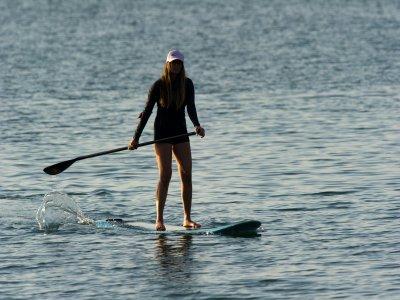 在瓜达拉哈拉班级学券中学习划桨冲浪