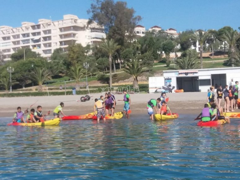 Kayak session in the sea