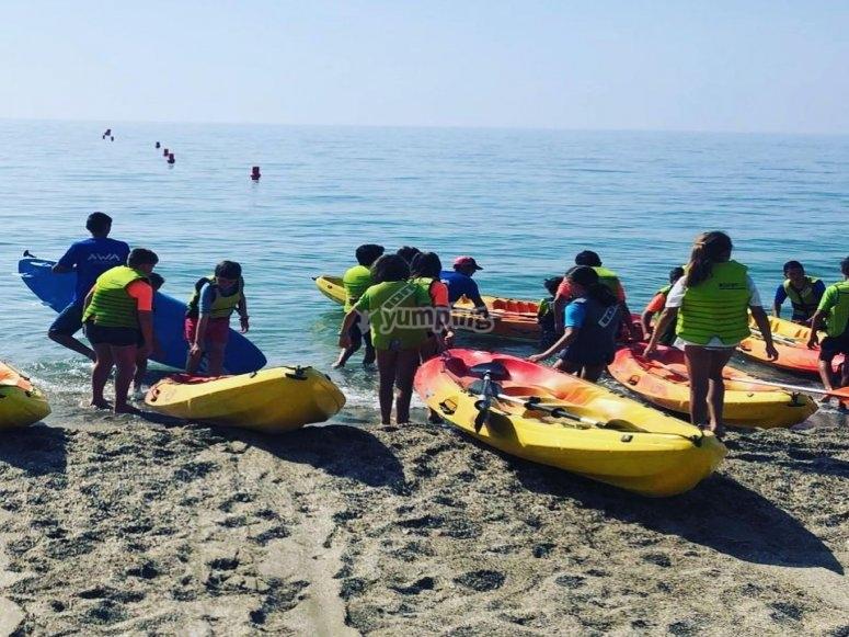 Kayaks in the sea