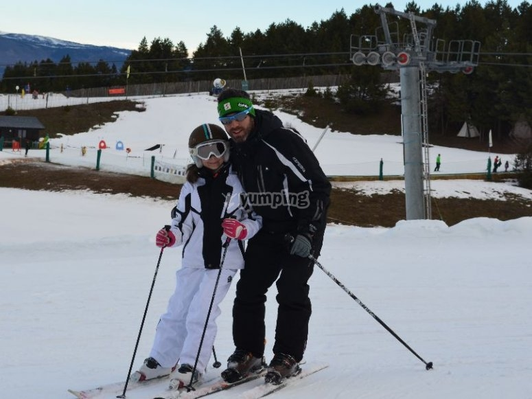 With a trainee skier