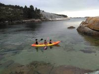 Children paddling in the kayak