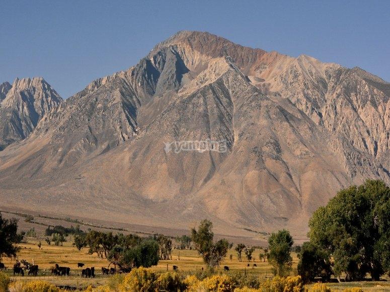 Volo di paracadutisti nell'area della Sierra Nevada