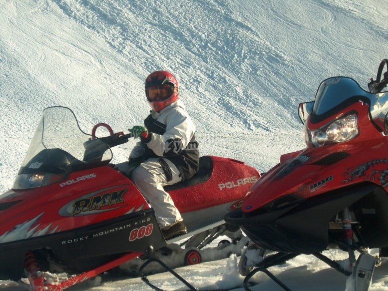 On board the snowmobile