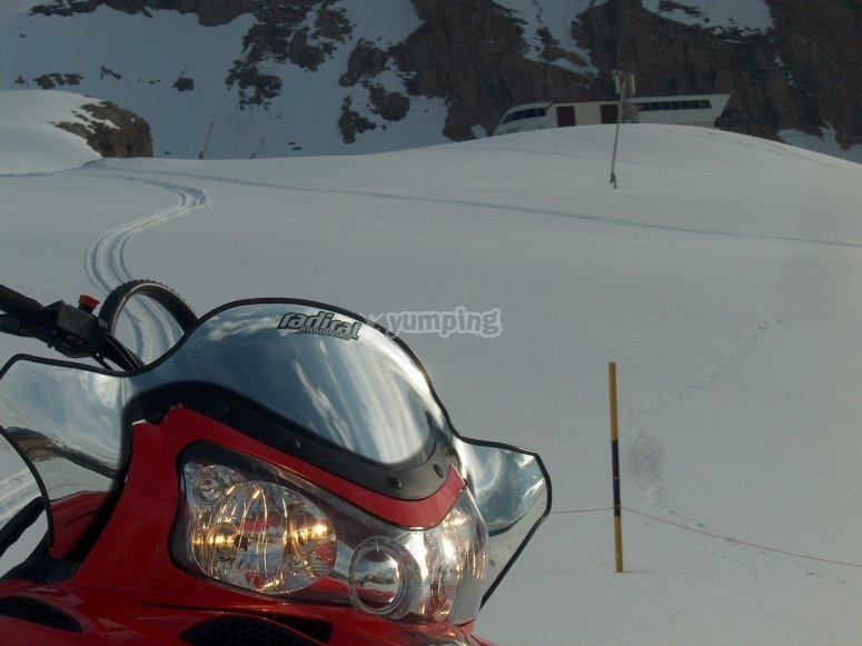 Journey in snowmobile