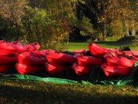Mountain of kayaks