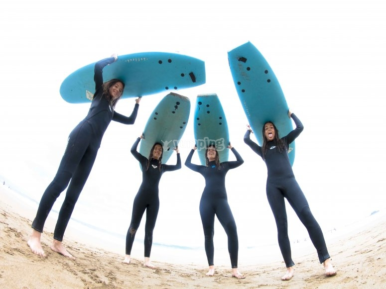 Holding the surfboards