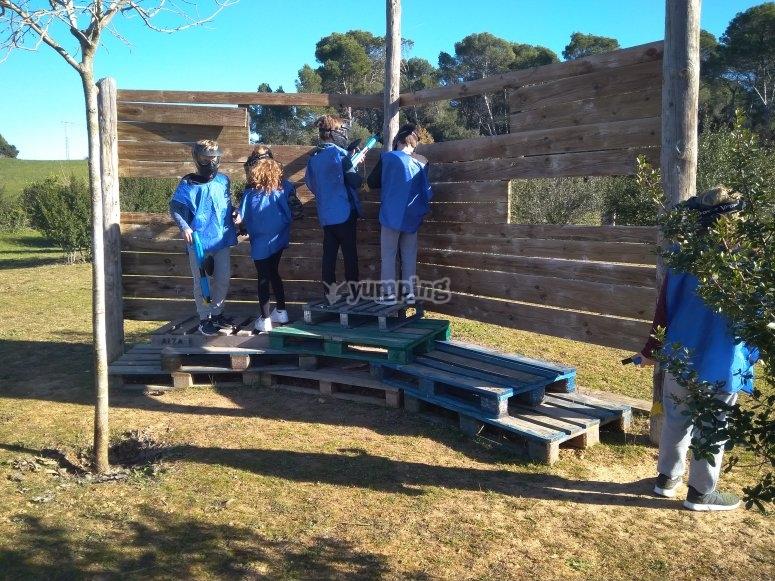 Equipo azul en el fuerte