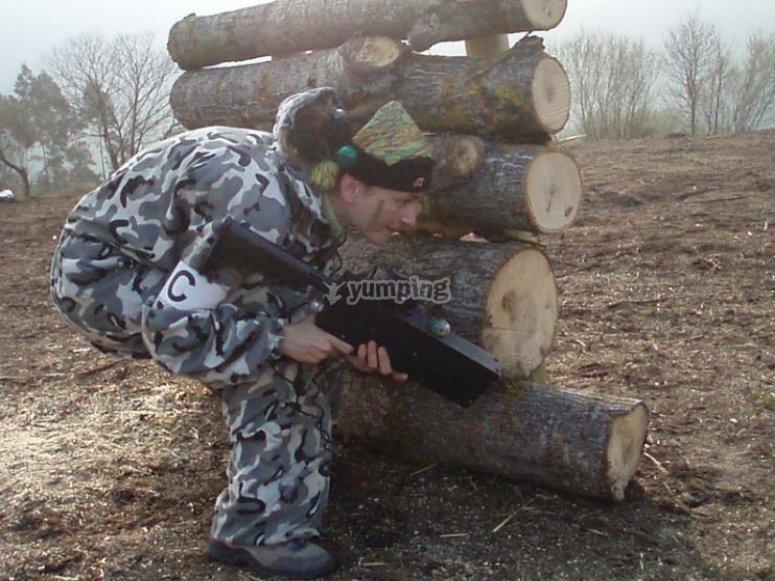 Tras los troncos de madera