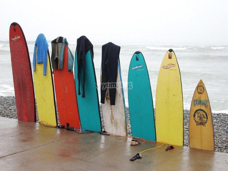 Diferentes tipos de tablas en la playa