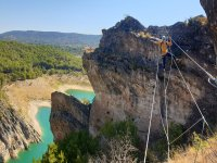 Crossing the suspension bridge of the ferrata
