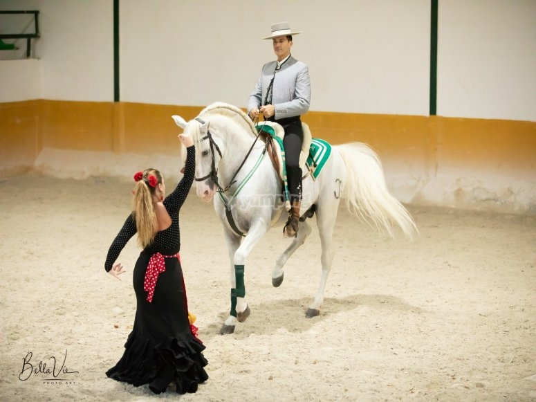 Vestida con traje tipico andaluz