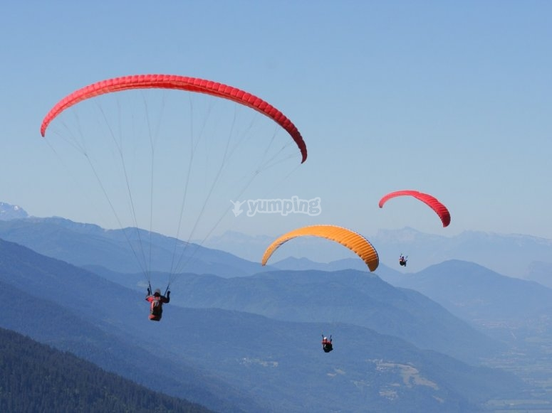 Group of flying paraglides