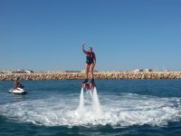 Flyboarding in front of the coast