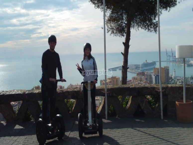 A couple with the Segways