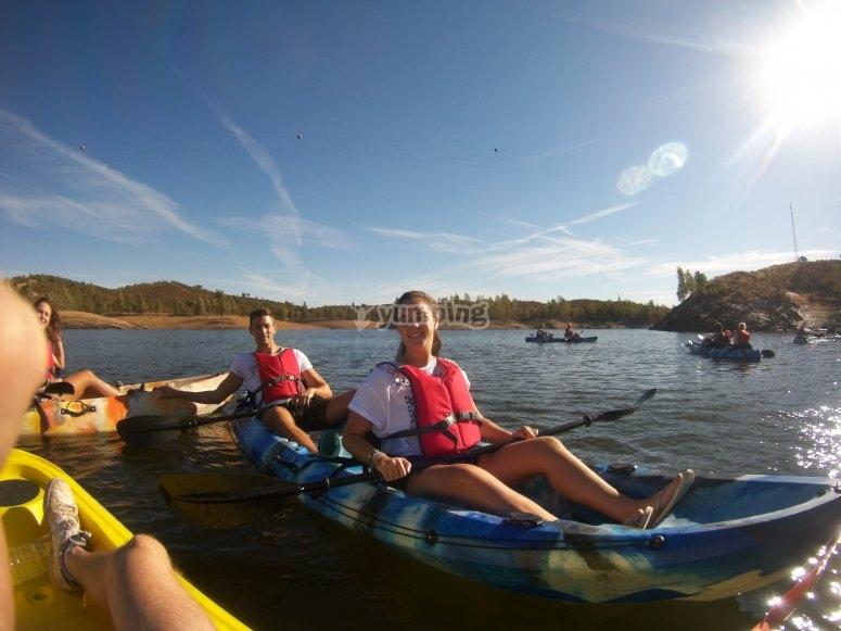 Sunny day for navigating on kayak