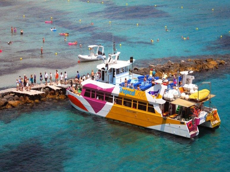 Barco con diseño tropical
