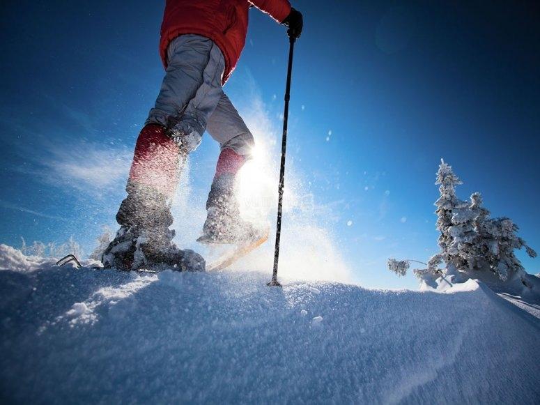 Hacer senderismo en la nieve