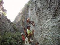 Natural rock climbing outside