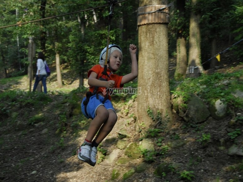 Child on the zip-line