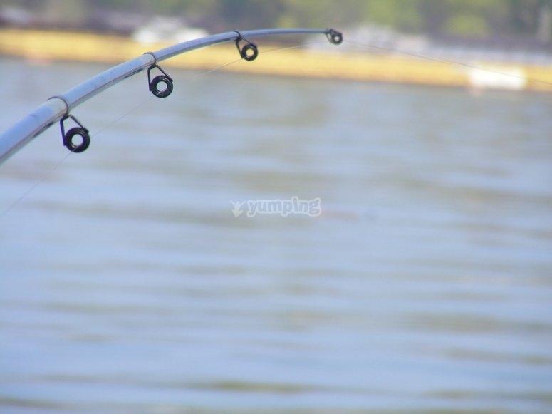 En el barco con patron para pescar
