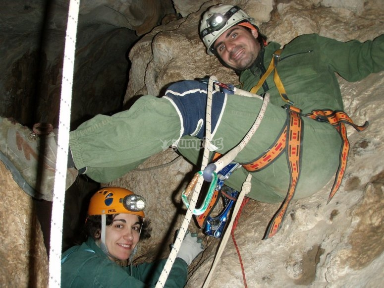 Rapelling in the cave of Las Palomas