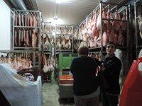 Visit to the ham dryer before the wine tasting