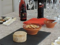 Everything prepared for wine and cheese tasting