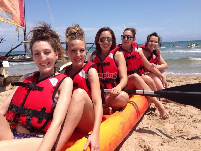 Bride to be with friends kayaking
