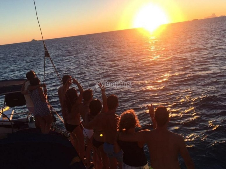 Admiring the sunset on board