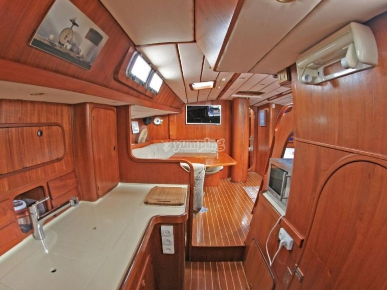 The interior of the boat