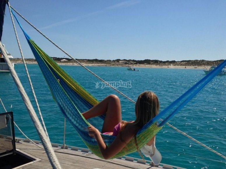 Relaxing on the boat