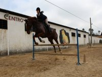Jumping with the horse in the class